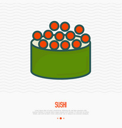 Sushi with fish caviar thin line icon vector