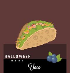 Taco halloween menu vector