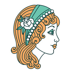 Tattoo style icon a gypsy head vector