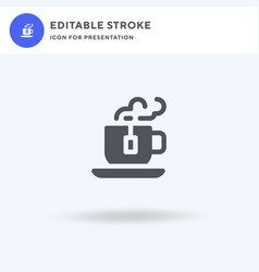 tea cup icon filled flat sign solid vector image