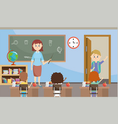 Teacher with students with education bookcase in vector