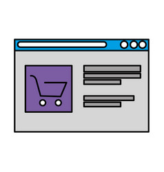 Template webpage with shopping cart vector