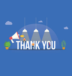 thank you big word with megaphone and team people vector image