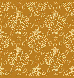 Thanksgiving holiday seamless pattern turkey and vector