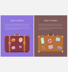 time to travel luggage stickers posters vector image