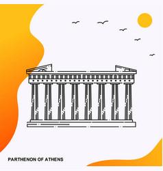Travel parthenon athens poster template vector