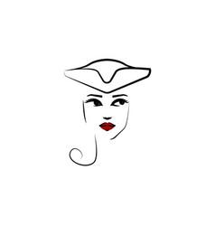 tricorn hat girl icon element beautiful girl vector image
