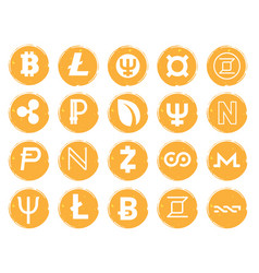 twenty golden icons with white images of vector image