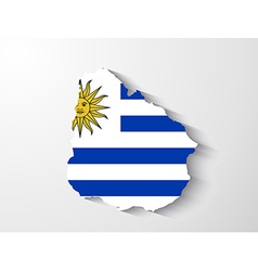 Uruguay map with shadow effect vector image