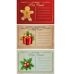 Vintage christmas postcards vector image