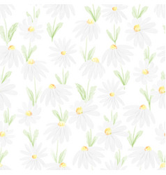 Watercolor white daisy seamless pattern eps10 vector