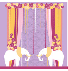 Wedding arch with elephants vector