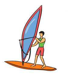 Windsurfing on white background vector