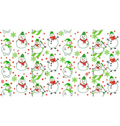 winter pattern with snowmen and snowflakes vector image