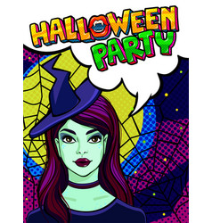 witch and halloween party message vector image