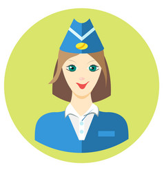 woman stewardess iconin a flat style image vector image