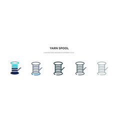 Yarn spool icon in different style two colored vector