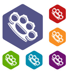 brass knuckles icons set vector image