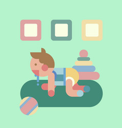 cute baby playing geometry flat vector image vector image