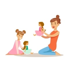 Mom And Daughter Playing Dolls Loving Mother vector image vector image