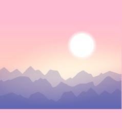 sunrise in the mountains minimalistic vector image