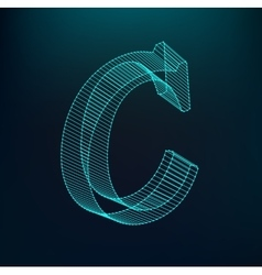 The letter C Polygonal letter Low poly model vector image