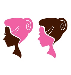 Women facial silhouette set - pink and brown vector image