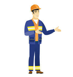 young asian happy builder gesturing vector image vector image