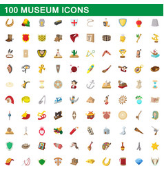 100 museum icons set cartoon style vector