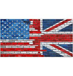 brick wall usa and uk flags vector image