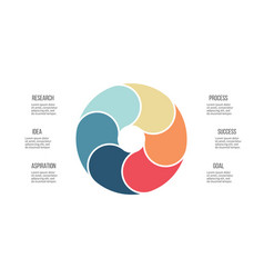 business infographics pie chart with 6 sections vector image vector image