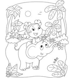 Cute girl riding an elephant vector image vector image