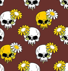 Daisy and skull seamless pattern Symbol of death vector image vector image