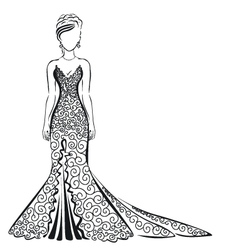 lace dress on a white background vector image vector image