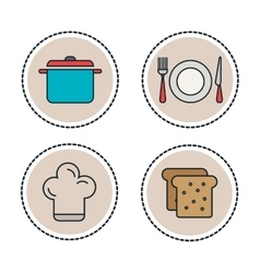 set food and utensils line icons vector image