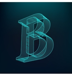 The letter B Polygonal letter Low poly model vector image vector image