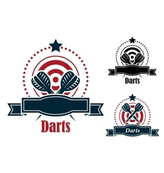 Darts sports emblems with banners vector image
