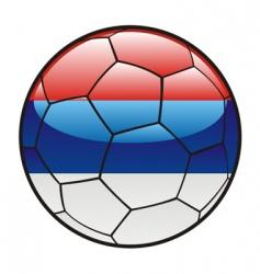 flag of Serbia on soccer ball vector image vector image