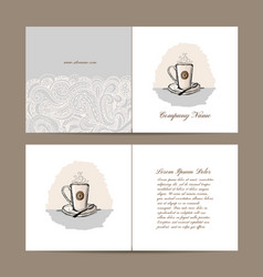 greeting card design with coffee cup vector image
