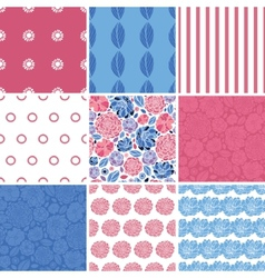 Mosaic flowers set of nine matching vector