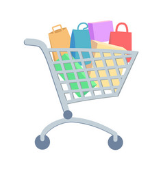 shopping trolley with goods flat icon vector image