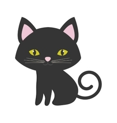 small cat sitting pink ears green eyes vector image