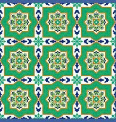 Spanish classic ceramic tiles seamless patterns vector