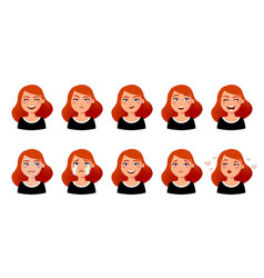 woman s facial expressions cute girl with various vector image