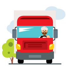 arab truck driver flat style colorful vector image vector image