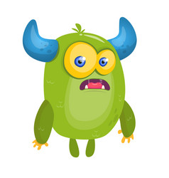 cartoon surprised green horned monster vector image vector image