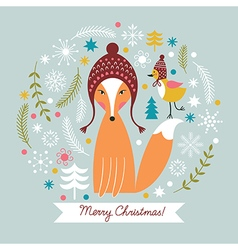 Christmas card with cute fox vector image