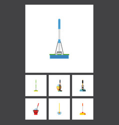 Flat icon mop set of broomstick bucket cleaning vector