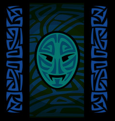 maori mask with tribal pattern vector image vector image