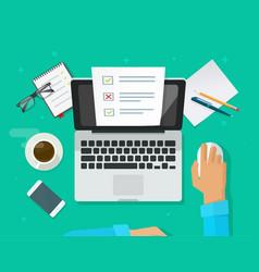 Online form survey on laptop person vector